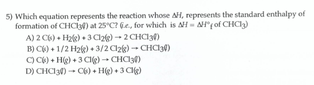 Which equation represents the reaction whose ΔH ...