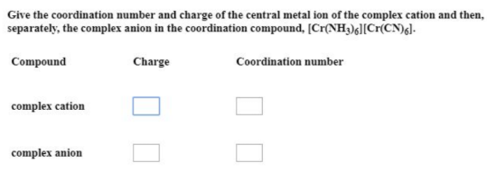 Give The Coordination Number And Charge Of The Central Metal Clutch Prep