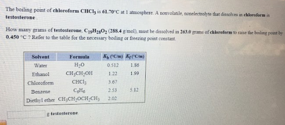 The boiling point of chloroform CHCl3 is 61 70 degrees C