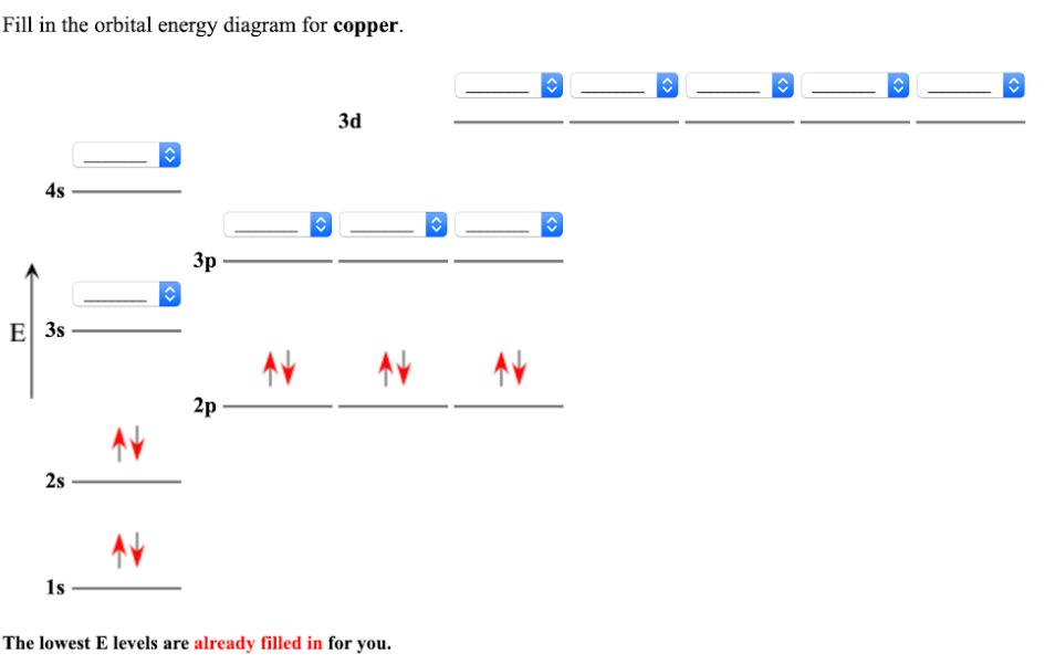 Fill in the orbital energy diagram for copper. The lowest E ...   Clutch  PrepClutch Prep