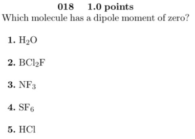 Which Molecule Has A Dipole Moment Of Zero 1 H2o 2 Bcl2f Clutch Prep