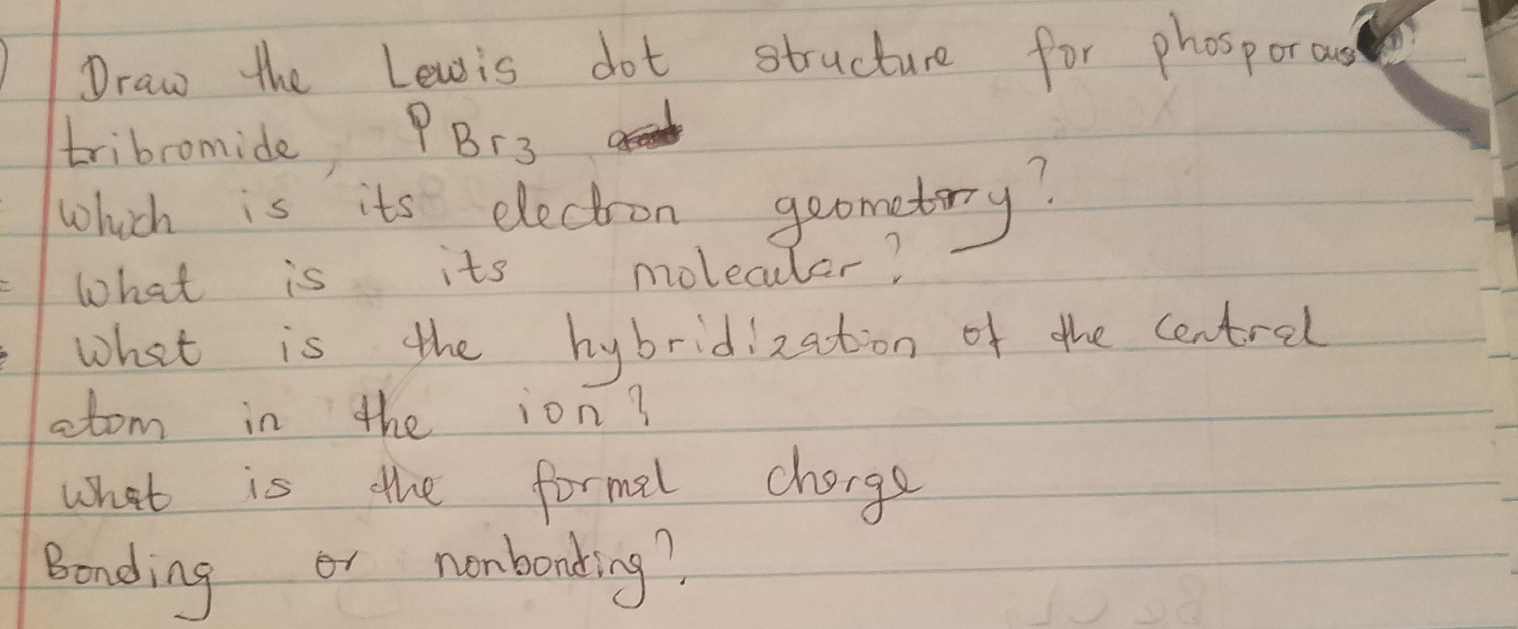 Draw The Lewis Structure For Phosphorus Tribromide  Pbr3  1