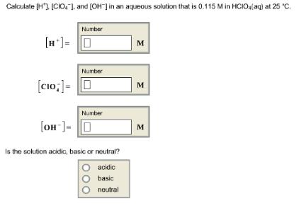 Calculate [H+], And [OH-] In An Aqueous So... | Clutch Prep