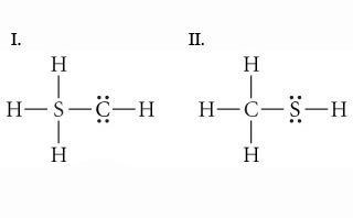 The figure shows 2 Lewis structures, both for SH3CH. Structure 1 shows that 3 hydrogen atoms and carbon atom are attached to the sulfur atom by a single bond and one hydrogen atom is attached to carbon atom. Carbon atom has 2 lone pairs of electrons. Structure 2 shows that 3 hydrogen atoms and sulfur atom are attached to the carbon atom by a single bond and one hydrogen is attached to sulfur atom. Sulfur atom has 2 lone pairs of electrons.