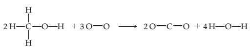 The figure shows a reaction where 2 molecules of HCOH, with two H atoms bonded to the carbon (all bonds are single), react with 3 molecules consisting of two double-bonded O atoms. The products are two OCO molecules (all bonds are double) and 4 HOH molecules (all bonds are single).