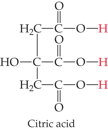 Citric acid is a three carbon chain, joined by single bonds.  Each C is single bonded right to a C that is double bonded above to O and single bonded right to OH.  The middle C is single bonded left to OH, while the top and bottom Cs are single bonded to two Hs.