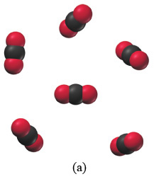 The figure labeled (a) shows six space-filling molecules arranged in a free order. Each molecule consists of a black sphere connected to two red spheres arranged opposite to each other.