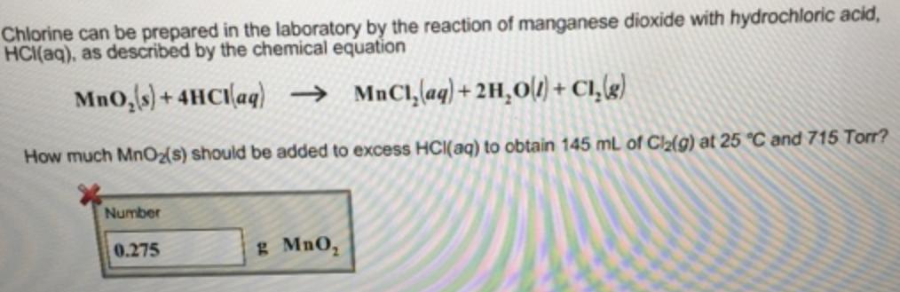 Chlorine Can Be Prepared In The Laboratory Clutch Prep
