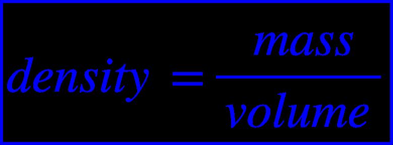 "<math xmlns=""http://www.w3.org/1998/Math/MathML""><menclose mathcolor=""#0000FF"" notation=""box""><mi>d</mi><mi>e</mi><mi>n</mi><mi>s</mi><mi>i</mi><mi>t</mi><mi>y</mi><mo>&#xA0;</mo><mo>=</mo><mfrac><mrow><mo>&#xA0;</mo><mi>m</mi><mi>a</mi><mi>s</mi><mi>s</mi></mrow><mrow><mi>v</mi><mi>o</mi><mi>l</mi><mi>u</mi><mi>m</mi><mi>e</mi></mrow></mfrac></menclose></math>"