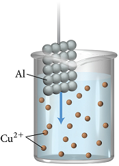 A piece of aluminium is submerged into a beaker containing an aqueous solution of copper two ions.