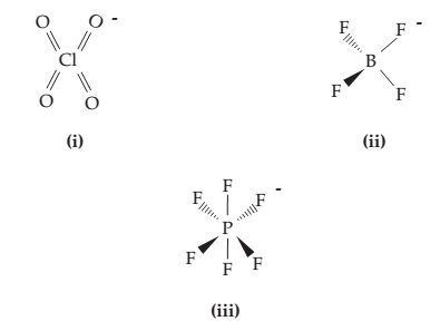 (i) A central Cl is double bonded on four sides to O. (ii) A central B is single bonded on four sides to F. (iii) A central P is single bonded on six sides to F.
