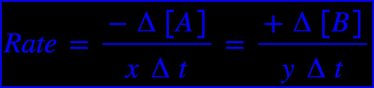 "<math xmlns=""http://www.w3.org/1998/Math/MathML""><menclose mathcolor=""#0000FF"" notation=""box""><mi>R</mi><mi>a</mi><mi>t</mi><mi>e</mi><mo>&#xA0;</mo><mo>=</mo><mo>&#xA0;</mo><mfrac><mrow><mo>-</mo><mo>&#x2206;</mo><mfenced open=""["" close=""]""><mi>A</mi></mfenced></mrow><mrow><mi>x</mi><mo>&#xA0;</mo><mo>&#x2206;</mo><mi>t</mi></mrow></mfrac><mo>&#xA0;</mo><mo>=</mo><mo>&#xA0;</mo><mfrac><mrow><mo>+</mo><mo>&#x2206;</mo><mfenced open=""["" close=""]""><mi>B</mi></mfenced></mrow><mrow><mi>y</mi><mo>&#xA0;</mo><mo>&#x2206;</mo><mi>t</mi></mrow></mfrac></menclose></math>"
