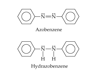 The structure of Azobenzene is two Ns double bonded to one another; each is single bonded out to benzene and has one pair of dots.  In hydrazobenzene, the Ns are instead single bonded to each other and below to H.