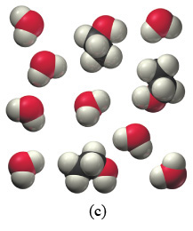 The figure labeled (c) shows three space-filling molecules of the first type and eight space-filling molecules of the second type. All molecules are arranged in a free order. Each molecule of the first type consists of two black, one red, and five white spheres. Each molecule of the second type consists of a red sphere and two white spheres.