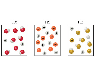 With HX, there are five HX molecules and two positive and two negative ions present.  With HY, there are zero HY molecules and eight positive and eight negative ions present.  With HZ, there are four HZ molecules and three positive and three negative ions present.