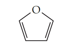 A pentagon-shape has an O at the point, arranged upward, and double bonds for the lower left and lower right sides.
