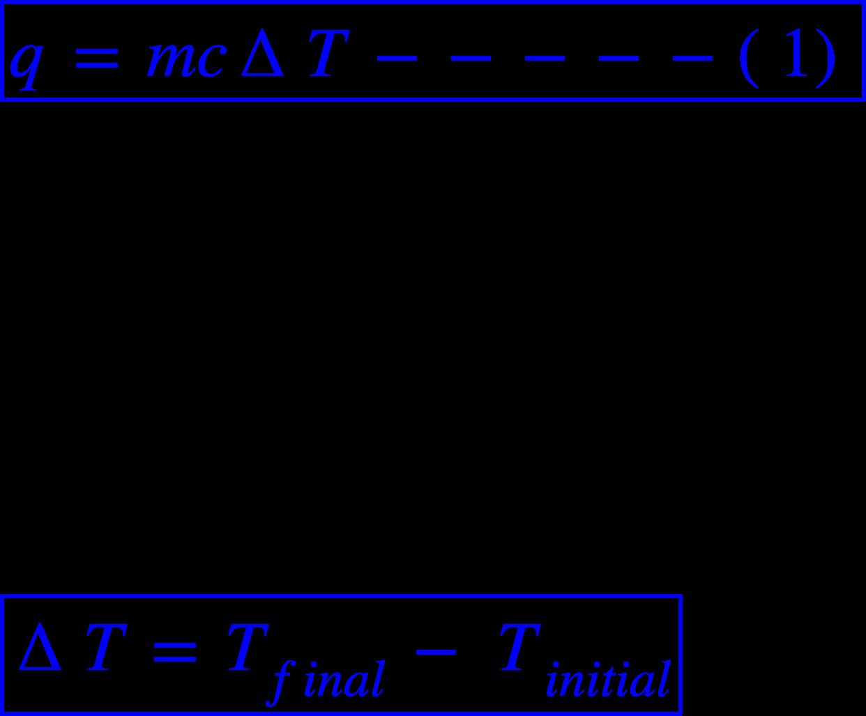 """<math xmlns=""""http://www.w3.org/1998/Math/MathML""""><menclose mathcolor=""""#0000FF"""" notation=""""box""""><mi>q</mi><mo>&#xA0;</mo><mo>=</mo><mo>&#xA0;</mo><mi>m</mi><mi>c</mi><mo>&#x2206;</mo><mi>T</mi><mo>&#xA0;</mo><mo>-</mo><mo>-</mo><mo>-</mo><mo>-</mo><mo>-</mo><mfenced><mn>1</mn></mfenced></menclose><mspace linebreak=""""newline""""></mspace><mi>W</mi><mi>h</mi><mi>e</mi><mi>r</mi><mi>e</mi><mo>,</mo><mspace linebreak=""""newline""""></mspace><mi>m</mi><mo>&#xA0;</mo><mo>=</mo><mo>&#xA0;</mo><mi>m</mi><mi>a</mi><mi>s</mi><mi>s</mi><mo>&#xA0;</mo><mi>o</mi><mi>f</mi><mo>&#xA0;</mo><mi>s</mi><mi>u</mi><mi>b</mi><mi>s</mi><mi>t</mi><mi>a</mi><mi>n</mi><mi>c</mi><mi>e</mi><mspace linebreak=""""newline""""></mspace><mi>c</mi><mo>&#xA0;</mo><mo>=</mo><mo>&#xA0;</mo><mi>s</mi><mi>p</mi><mi>e</mi><mi>c</mi><mi>i</mi><mi>f</mi><mi>i</mi><mi>c</mi><mo>&#xA0;</mo><mi>h</mi><mi>e</mi><mi>a</mi><mi>t</mi><mspace linebreak=""""newline""""></mspace><mo>&#x2206;</mo><mi>T</mi><mo>&#xA0;</mo><mo>=</mo><mo>&#xA0;</mo><mi>c</mi><mi>h</mi><mi>a</mi><mi>n</mi><mi>g</mi><mi>e</mi><mo>&#xA0;</mo><mi>i</mi><mi>n</mi><mo>&#xA0;</mo><mi>t</mi><mi>e</mi><mi>m</mi><mi>p</mi><mi>e</mi><mi>r</mi><mi>a</mi><mi>t</mi><mi>u</mi><mi>r</mi><mi>e</mi><mspace linebreak=""""newline""""></mspace><menclose mathcolor=""""#0000FF"""" notation=""""box""""><mo>&#x2206;</mo><mi>T</mi><mo>&#xA0;</mo><mo>=</mo><mo>&#xA0;</mo><msub><mi>T</mi><mrow><mi>f</mi><mi>i</mi><mi>n</mi><mi>a</mi><mi>l</mi></mrow></msub><mo>&#xA0;</mo><mo>-</mo><mo>&#xA0;</mo><msub><mi>T</mi><mrow><mi>i</mi><mi>n</mi><mi>i</mi><mi>t</mi><mi>i</mi><mi>a</mi><mi>l</mi></mrow></msub></menclose></math>"""