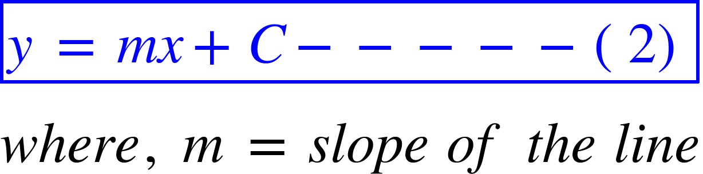 "<math xmlns=""http://www.w3.org/1998/Math/MathML""><menclose mathcolor=""#0000FF"" notation=""box""><mi>y</mi><mo>&#xA0;</mo><mo>=</mo><mo>&#xA0;</mo><mi>m</mi><mi>x</mi><mo>+</mo><mi>C</mi><mo>-</mo><mo>-</mo><mo>-</mo><mo>-</mo><mo>-</mo><mfenced><mn>2</mn></mfenced></menclose><mspace linebreak=""newline""></mspace><mi>w</mi><mi>h</mi><mi>e</mi><mi>r</mi><mi>e</mi><mo>,</mo><mo>&#xA0;</mo><mi>m</mi><mo>&#xA0;</mo><mo>=</mo><mo>&#xA0;</mo><mi>s</mi><mi>l</mi><mi>o</mi><mi>p</mi><mi>e</mi><mo>&#xA0;</mo><mi>o</mi><mi>f</mi><mo>&#xA0;</mo><mi>t</mi><mi>h</mi><mi>e</mi><mo>&#xA0;</mo><mi>l</mi><mi>i</mi><mi>n</mi><mi>e</mi></math>"
