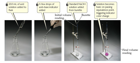 A series of photographs show how to titrate an acid using a phenolphthalein indicator. 1) 20.0 milliliters of acid solution added to flask. 2) A few drops of acid-base indicator added to flask. 3) Standard NaOH solution added to flask from burette, on which the initial volume reading of the base can be taken. 4) Solution becomes basic on passing equivalence point, triggering indicator color change. The solution in the flask has turned a bright pink color, and the final volume reading is taken from the burette.