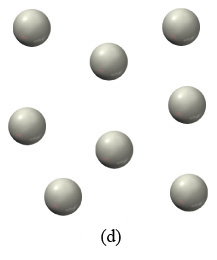 The figure labeled (d) shows eight white spheres arranged in a free order.