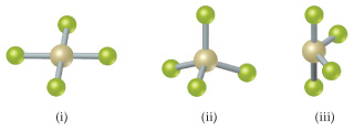 i) Square planar ii) Tetrahedral iii) Seesaw
