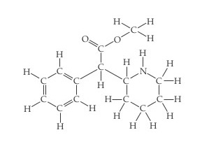 The structure of Ritalin (methylphenidate) is a central C single bonded below to H and left to a benzene ring.  Single bonded above the central C is a C.  That C is double bonded to O and single bonded to O, which is single bonded to a CH3. Single bonded right of the central C is a C that forms the upper left vertex of a six-membered hexagon ring, arranged with its points up and down.  All the vertices are Cs except for the top point, which is an N, and all vertices are connected by single bonds.  The top point (N) and upper left vertex are single bonded to H; all other vertices are single bonded to two Hs.