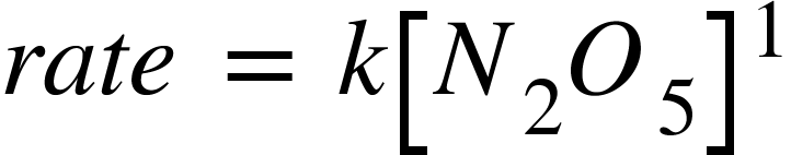"""<math xmlns=""""http://www.w3.org/1998/Math/MathML""""><mi>r</mi><mi>a</mi><mi>t</mi><mi>e</mi><mo>&#xA0;</mo><mo>=</mo><mo>&#xA0;</mo><mi>k</mi><msup><mfenced open=""""["""" close=""""]""""><mrow><msub><mi>N</mi><mn>2</mn></msub><msub><mi>O</mi><mn>5</mn></msub></mrow></mfenced><mn>1</mn></msup></math>"""