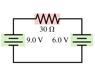 Image for Part A. What is the magnitude of the current in the 30 ohm resistor in the figure? answer in Amperes Part B.