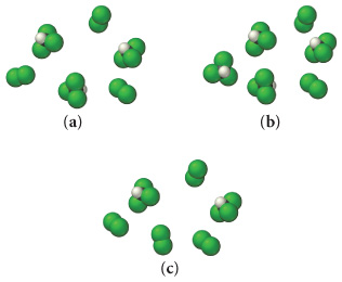 There are three mixtures labled a, b and c. Mixture a contains three trichloromethane molecules and three chlorine molecules. Mixture b contains four molecules fo trichloromethane and two chlorine molecules. Mixture c contains two molecules of trichloromethane and four chlorine molecules.