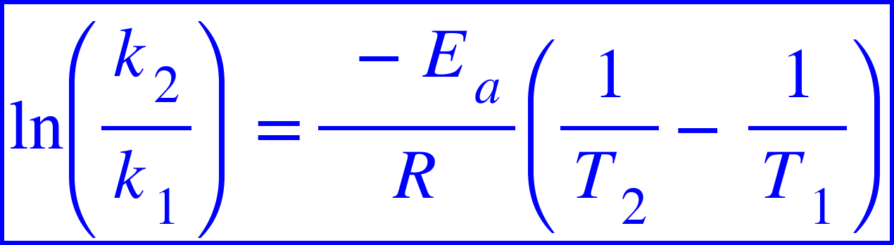 "<math xmlns=""http://www.w3.org/1998/Math/MathML""><menclose mathcolor=""#0000FF"" notation=""box""><mi>ln</mi><mfenced><mfrac><msub><mi>k</mi><mn>2</mn></msub><msub><mi>k</mi><mn>1</mn></msub></mfrac></mfenced><mo>&#xA0;</mo><mo>=</mo><mfrac><mrow><mo>&#xA0;</mo><mo>-</mo><msub><mi>E</mi><mi>a</mi></msub></mrow><mi>R</mi></mfrac><mfenced><mrow><mfrac><mn>1</mn><msub><mi>T</mi><mn>2</mn></msub></mfrac><mo>-</mo><mfrac><mn>1</mn><msub><mi>T</mi><mn>1</mn></msub></mfrac></mrow></mfenced></menclose></math>"