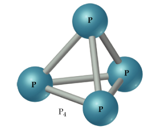 A diagram shows P4 as four atoms arranged in a pyramid shape, each single bonded to the other three atoms.