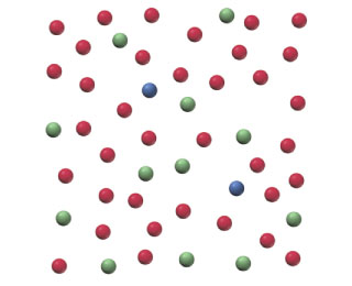 The figure shows 50 spheres. There are 12 green spheres, 2 blue spheres, and 36 red spheres.