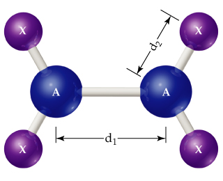 A diagram shows A single bonded to A; each A is also single bonded above and below to X.  The distance between A and A is d1 and the distance between each A and X is d2.