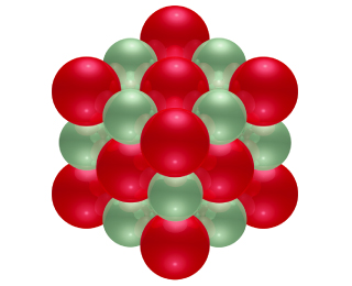 A diagram shows a three by three cube with alternating strontium and oxygen atoms.
