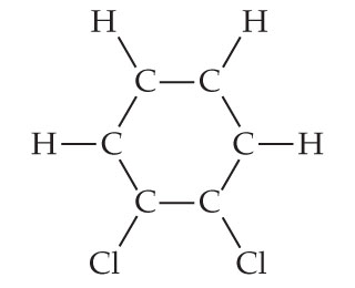 A hexagon ring with carbon as each vertex, connected by single bonds.  Four carbons are single bonded to H and two are single bonded to Cl.