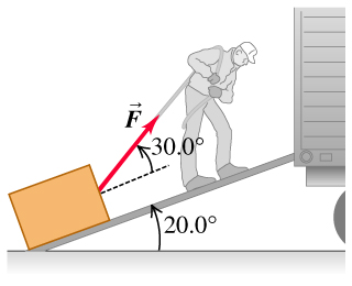 The man is dragging a trunk up the loading ramp of a movers truck with a pulling force F that is 30.0 degrees above the ramp. The ramp itself makes an angle of 20.0 degrees with the horizontal.