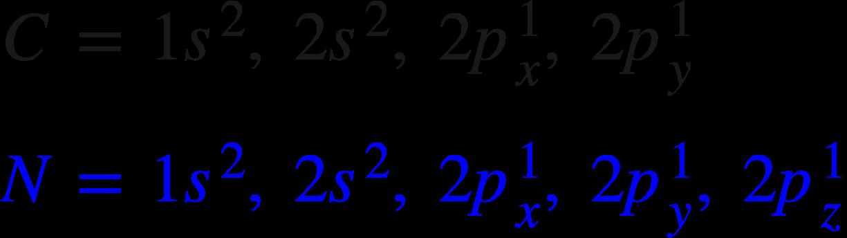 "<math xmlns=""http://www.w3.org/1998/Math/MathML""><mi mathcolor=""#191919"">C</mi><mo mathcolor=""#191919"">&#xA0;</mo><mo mathcolor=""#191919"">=</mo><mo mathcolor=""#191919"">&#xA0;</mo><mn mathcolor=""#191919"">1</mn><msup><mi mathcolor=""#191919"">s</mi><mn mathcolor=""#191919"">2</mn></msup><mo mathcolor=""#191919"">,</mo><mo mathcolor=""#191919"">&#xA0;</mo><mn mathcolor=""#191919"">2</mn><msup><mi mathcolor=""#191919"">s</mi><mn mathcolor=""#191919"">2</mn></msup><mo mathcolor=""#191919"">,</mo><mo mathcolor=""#191919"">&#xA0;</mo><mn mathcolor=""#191919"">2</mn><msubsup><mi mathcolor=""#191919"">p</mi><mi mathcolor=""#191919"">x</mi><mn mathcolor=""#191919"">1</mn></msubsup><mo mathcolor=""#191919"">,</mo><mo mathcolor=""#191919"">&#xA0;</mo><mn mathcolor=""#191919"">2</mn><msubsup><mi mathcolor=""#191919"">p</mi><mi mathcolor=""#191919"">y</mi><mn mathcolor=""#191919"">1</mn></msubsup><mspace linebreak=""newline""></mspace><mi mathcolor=""#0000FF"">N</mi><mo mathcolor=""#0000FF"">&#xA0;</mo><mo mathcolor=""#0000FF"">=</mo><mo mathcolor=""#0000FF"">&#xA0;</mo><mn mathcolor=""#0000FF"">1</mn><msup><mi mathcolor=""#0000FF"">s</mi><mn mathcolor=""#0000FF"">2</mn></msup><mo mathcolor=""#0000FF"">,</mo><mo mathcolor=""#0000FF"">&#xA0;</mo><mn mathcolor=""#0000FF"">2</mn><msup><mi mathcolor=""#0000FF"">s</mi><mn mathcolor=""#0000FF"">2</mn></msup><mo mathcolor=""#0000FF"">,</mo><mo mathcolor=""#0000FF"">&#xA0;</mo><mn mathcolor=""#0000FF"">2</mn><msubsup><mi mathcolor=""#0000FF"">p</mi><mi mathcolor=""#0000FF"">x</mi><mn mathcolor=""#0000FF"">1</mn></msubsup><mo mathcolor=""#0000FF"">,</mo><mo mathcolor=""#0000FF"">&#xA0;</mo><mn mathcolor=""#0000FF"">2</mn><msubsup><mi mathcolor=""#0000FF"">p</mi><mi mathcolor=""#0000FF"">y</mi><mn mathcolor=""#0000FF"">1</mn></msubsup><mo mathcolor=""#0000FF"">,</mo><mo mathcolor=""#0000FF"">&#xA0;</mo><mn mathcolor=""#0000FF"">2</mn><msubsup><mi mathcolor=""#0000FF"">p</mi><mi mathcolor=""#0000FF"">z</mi><mn mathcolor=""#0000FF"">1</mn></msubsup></math>"