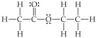 C is single bonded above, left, and below to H, and right to C.  That C is double bonded above to O (which has two pairs of dots) and single bonded right to O.  That O has two pairs of dots and is single bonded right to C, which is single bonded above and below to H and right to CH3.